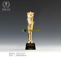 丝带五角星奖杯 中国肿瘤防治协会表彰奖杯供应商 水晶奖杯制作